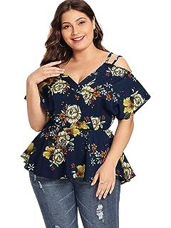 6151b41e45dfc2 SheIn Women's Plus Size Short Sleeve Cold Shoulder Floral Peplum Top Blouse