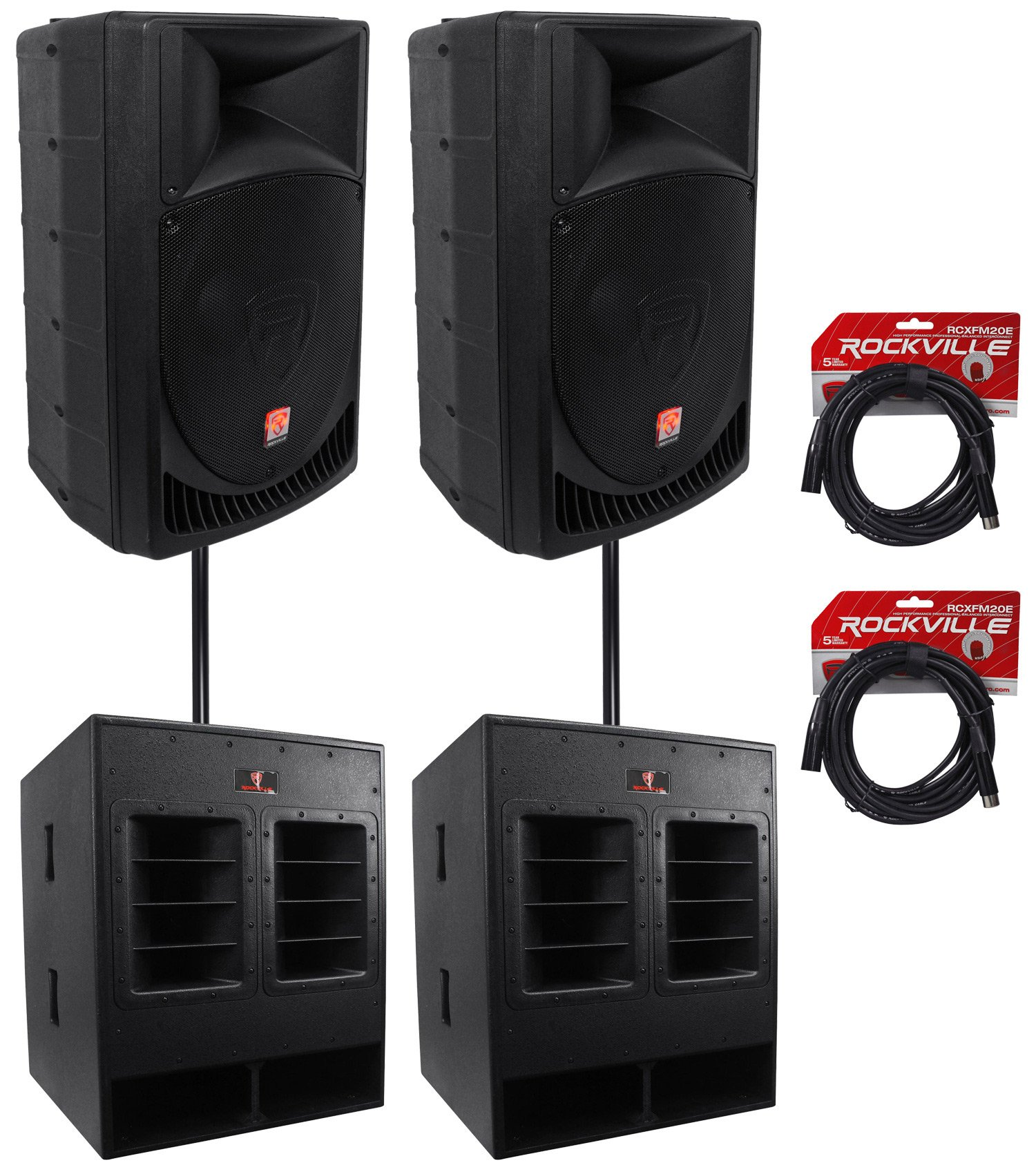 (2) Rockville RPG15 15'' Powered 1000W DJ/PA Speakers+ 18'' Subs+Poles+Cables