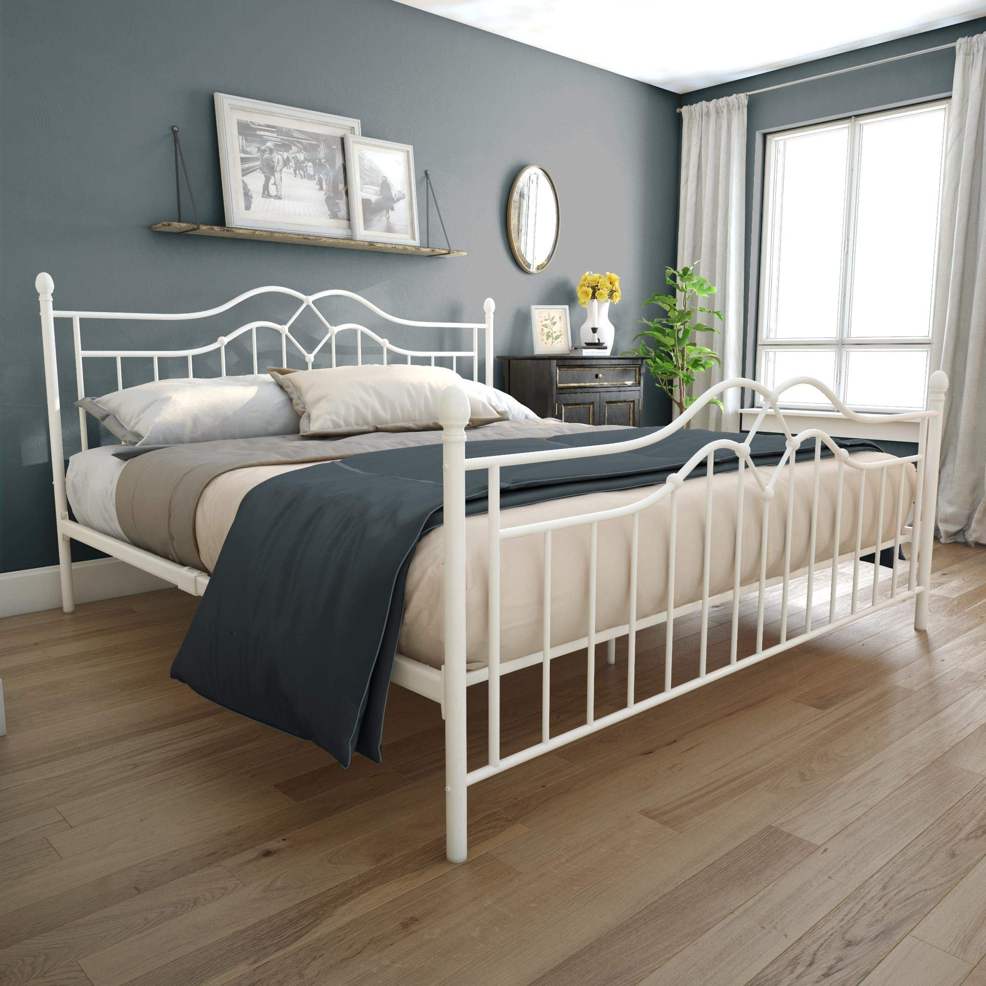 DHP Tokyo Metal Bed, White, King by DHP
