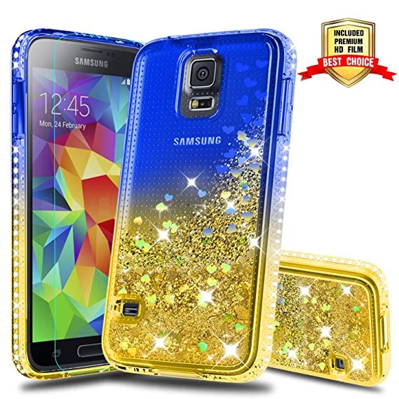 pretty nice a3952 eb3bf Galaxy S5 Case, Samsung Galaxy S5 Girly Cases with HD Screen Protector,  Atump Fun Glitter Liquid Sparkle Diamond Cute TPU Silicone Protective Phone  ...