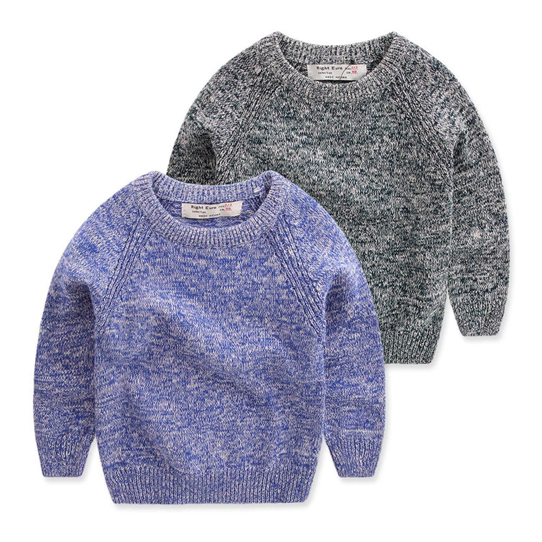 Wnitefg Little Boys' Crewneck Variegated Pullover Sweater