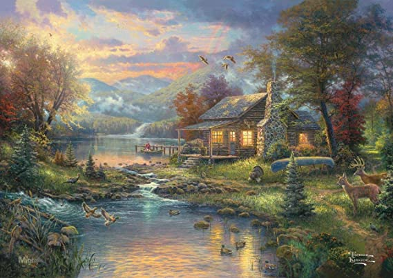 MightyPrint Thomas Kinkade – Nature Paradise – Hunting Fishing Cabin Scene Wall Art – Strong reusable paper free print