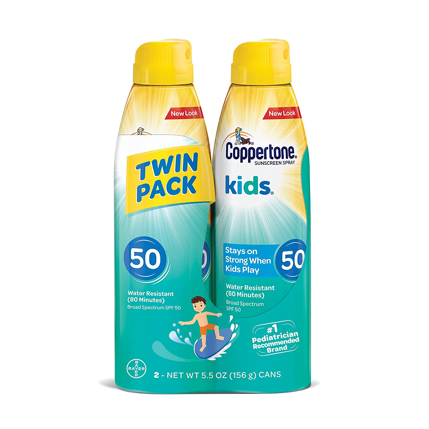 Coppertone KIDS Sunscreen Continuous Spray SPF 50 (5.5 Ounce, Pack of 2) (Packaging may vary), White