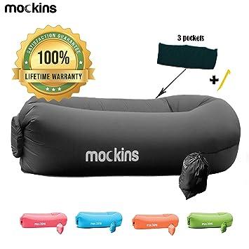 Super Amazon Com Mockins Black Inflatable Lounger Hangout Sofa Bralicious Painted Fabric Chair Ideas Braliciousco