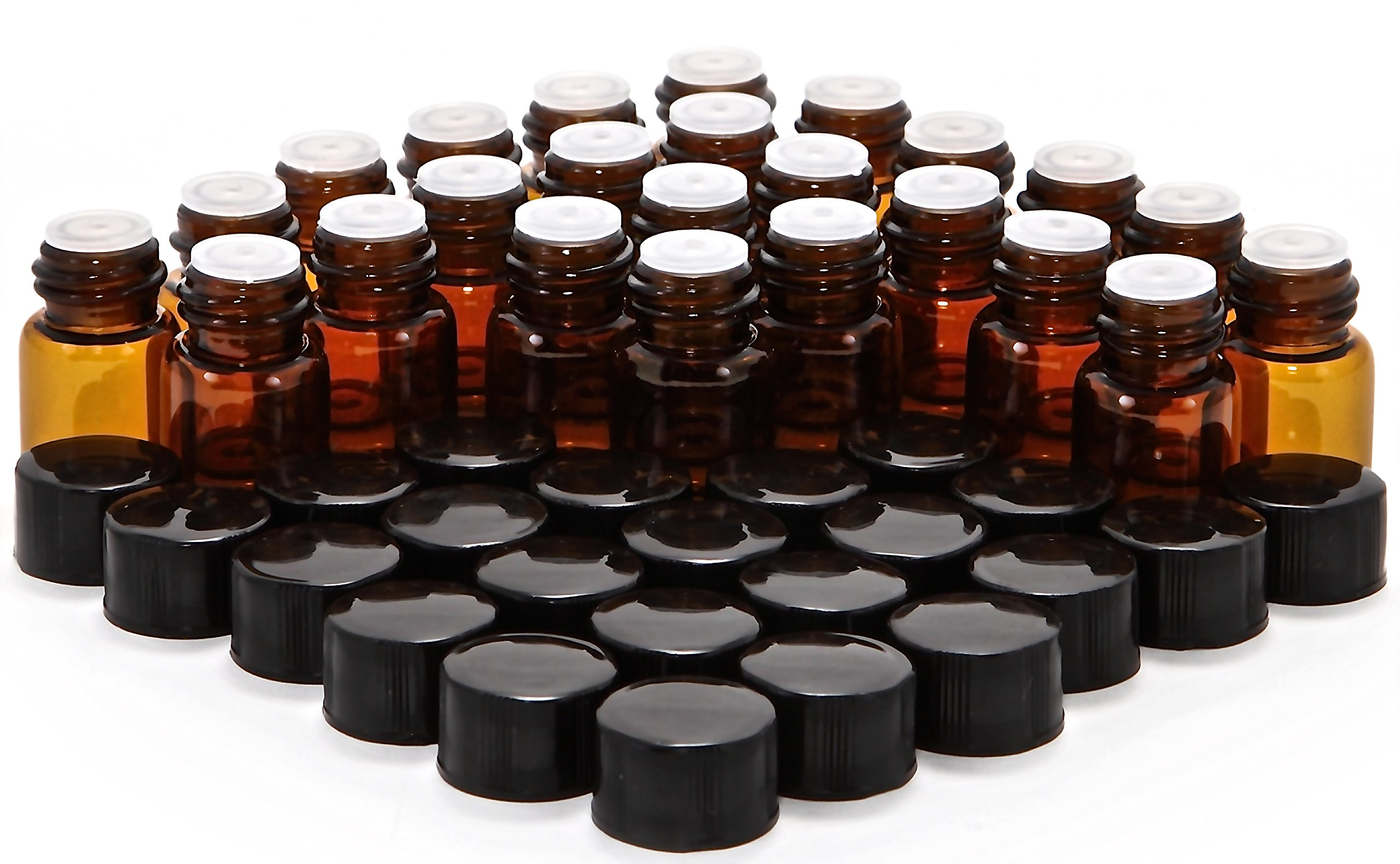 24, Amber, 2 ml (5/8 Dram) Glass Bottles, with Orifice Reducers and Black Caps