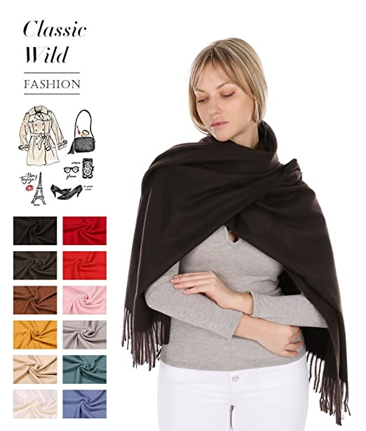 RufnTop 100% Cashmere Scarf, Winter Large Warm Scarves Shawls Wrap for  Women Men Gift