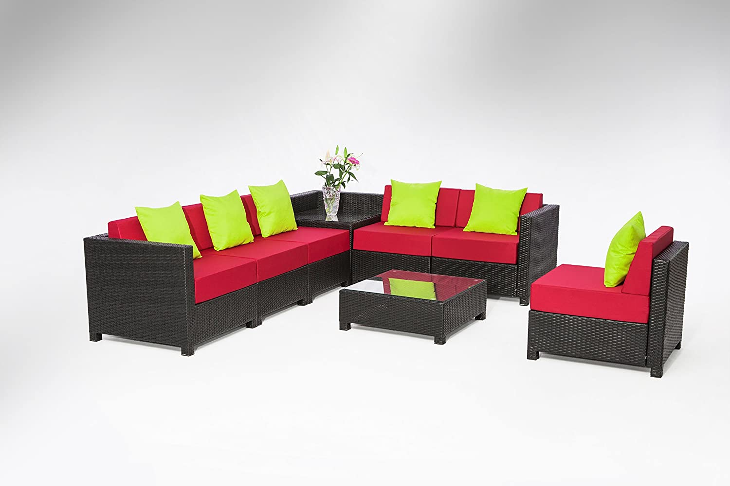 MCombo 8 pcs Luxury Black Wicker Patio Sectional Indoor Outdoor Sofa Furniture set Red