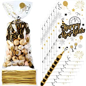 100 Pieces Happy New Year Cellophane Treat Bags, Black and Gold New Year Eve Party Plastic Candy Bags Goodies Favor Bags with 100 Gold Twist Ties for 2021 Christmas New Year Eve Party Supplies