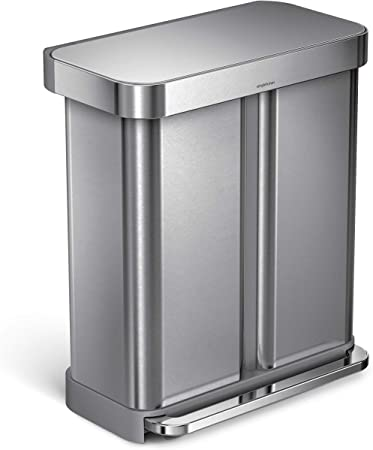 simplehuman 58 Liter / 15.3 Gallon Stainless Steel Dual Compartment  Rectangular Kitchen Step Trash Can Recycler with Liner Pocket, Brushed  Stainless ...