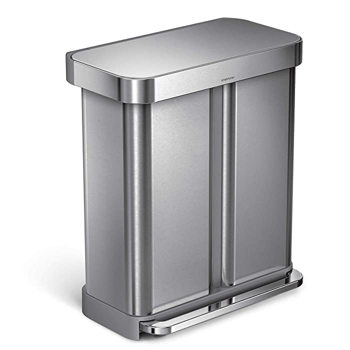 simplehuman 58 Liter/15.3 Gallon Step Can Liner Pocket, Brushed Stainless Steel Dual Compartment Recycler, Rectangular
