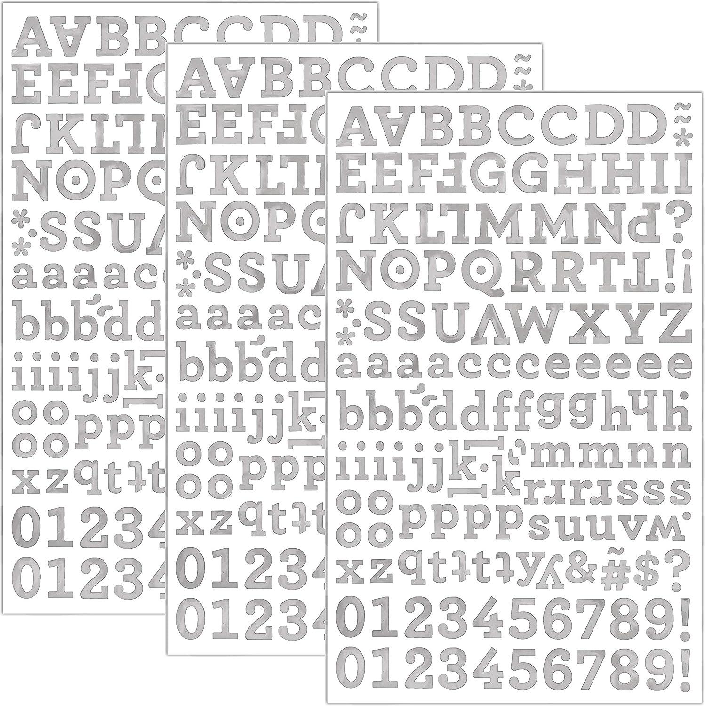 QQ&U 3 Sheets Foil Alphabet Black Silver Gold Letter Stickers (Silver)