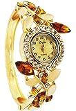 Mehrunnisa Vintage Flower Crystals Bangle Bracelet Watch for Girls