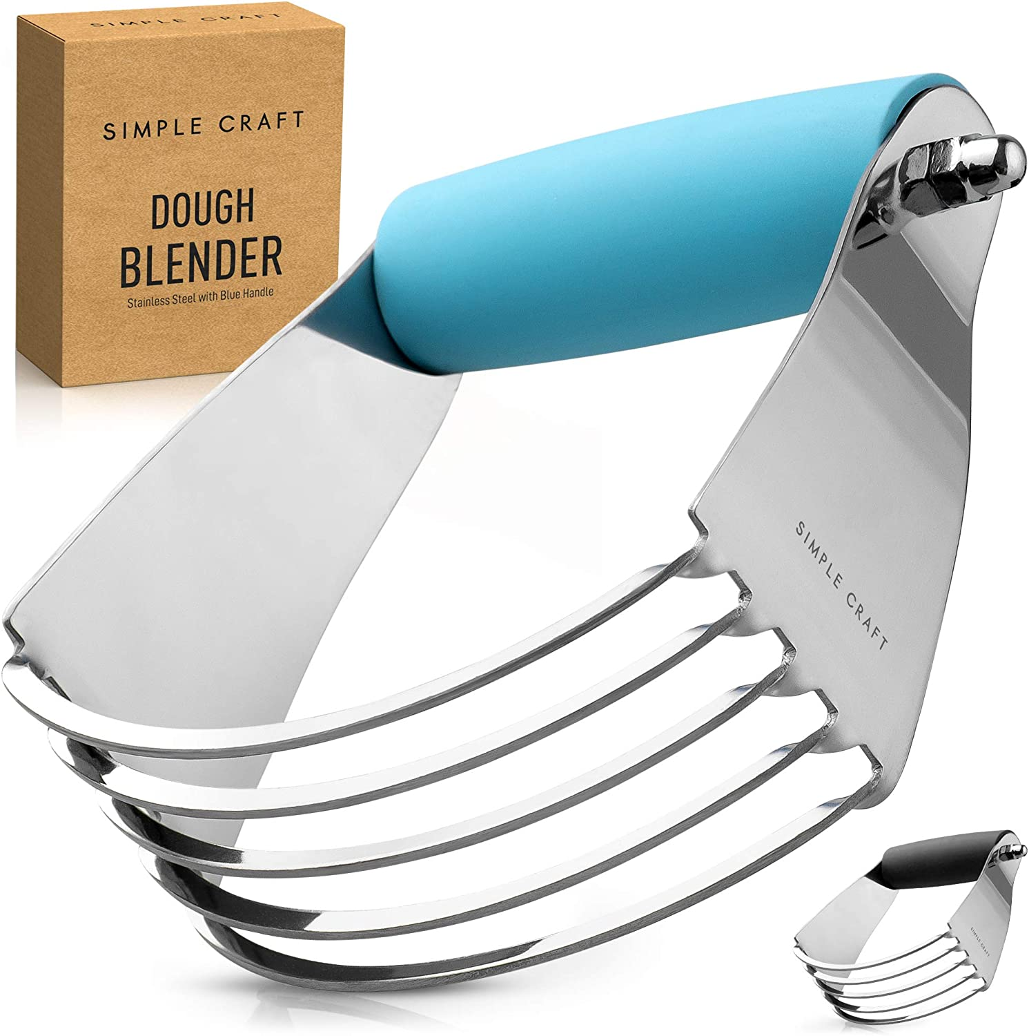 Simple Craft Pastry Cutter For Baking - Stainless Steel Pastry Blender Tool With Comfortable Grip Handle - Heavy Duty Dough Cutters & Dough Blender For Mixing Butter, Flour, and More (Blue)