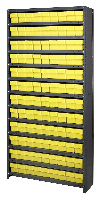"B005FMMXWG Quantum Storage Systems CL1875-604YL Closed Shelving System with Super Tuff Euro Drawers, 108 QED604 Shelf Bins, 18"" D x 36"" W x 75"" H, Yellow 814wPs7TaSL"