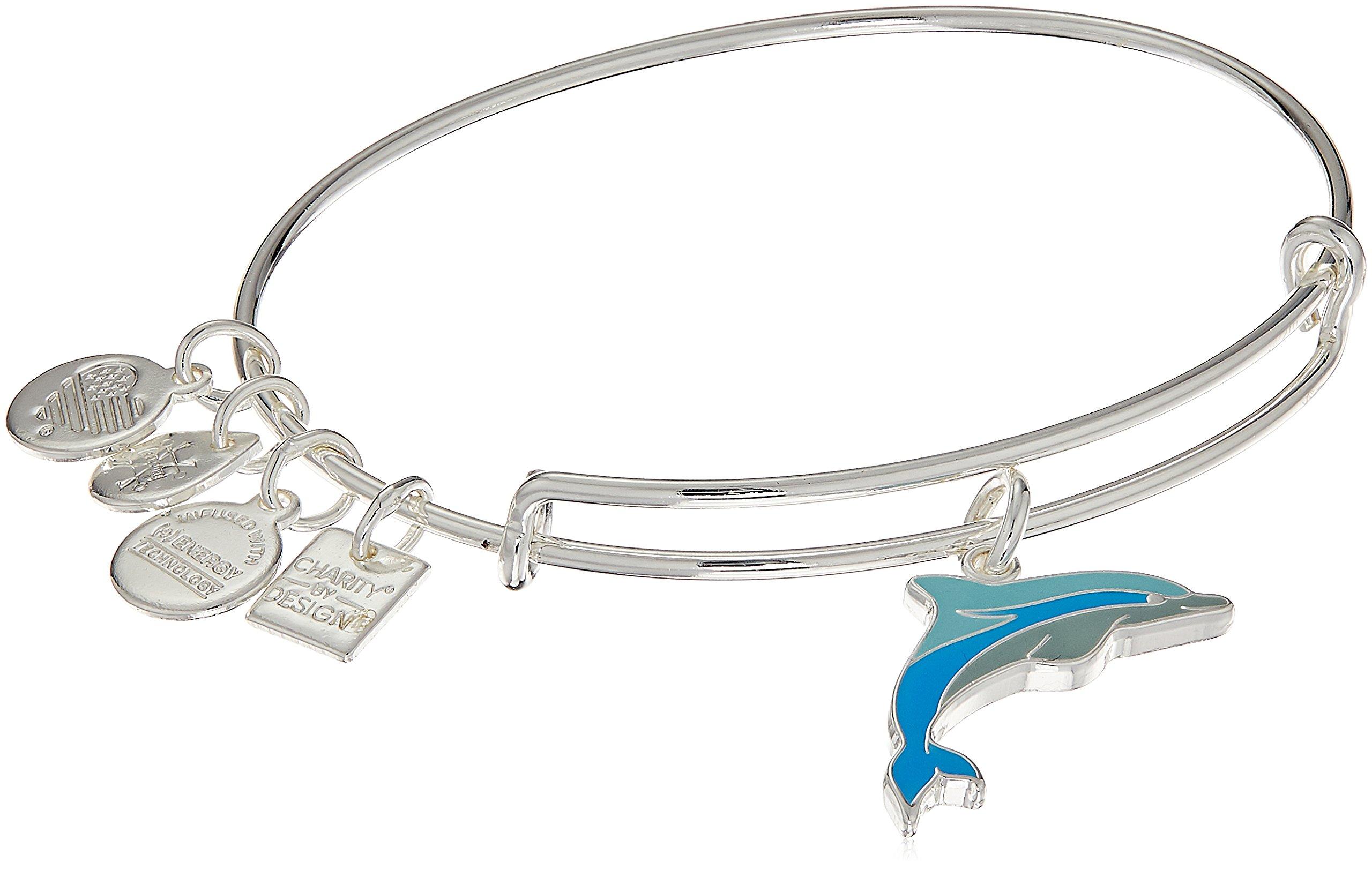 Alex and Ani Charity By Design, Dolphin EWB, Shiny Silver Bangle Bracelet