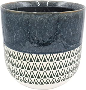 "Amazon Brand – Stone & Beam Mid-Century Two-Toned Planter, 10.53""H, Indigo Blue"