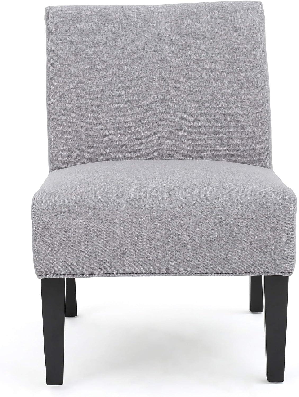GDF Studio 299756new Kendal Fabric Slipper Accent Chair, Light Grey
