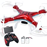 Quadcopter Drone with Camera Live Video, Drones FPV 1080P HD WiFi Camera with Remote Control, Free Extra Battery and Quadcopters Crash Replacement Kit with LED Lights, Easy Use for Beginners Kids RED