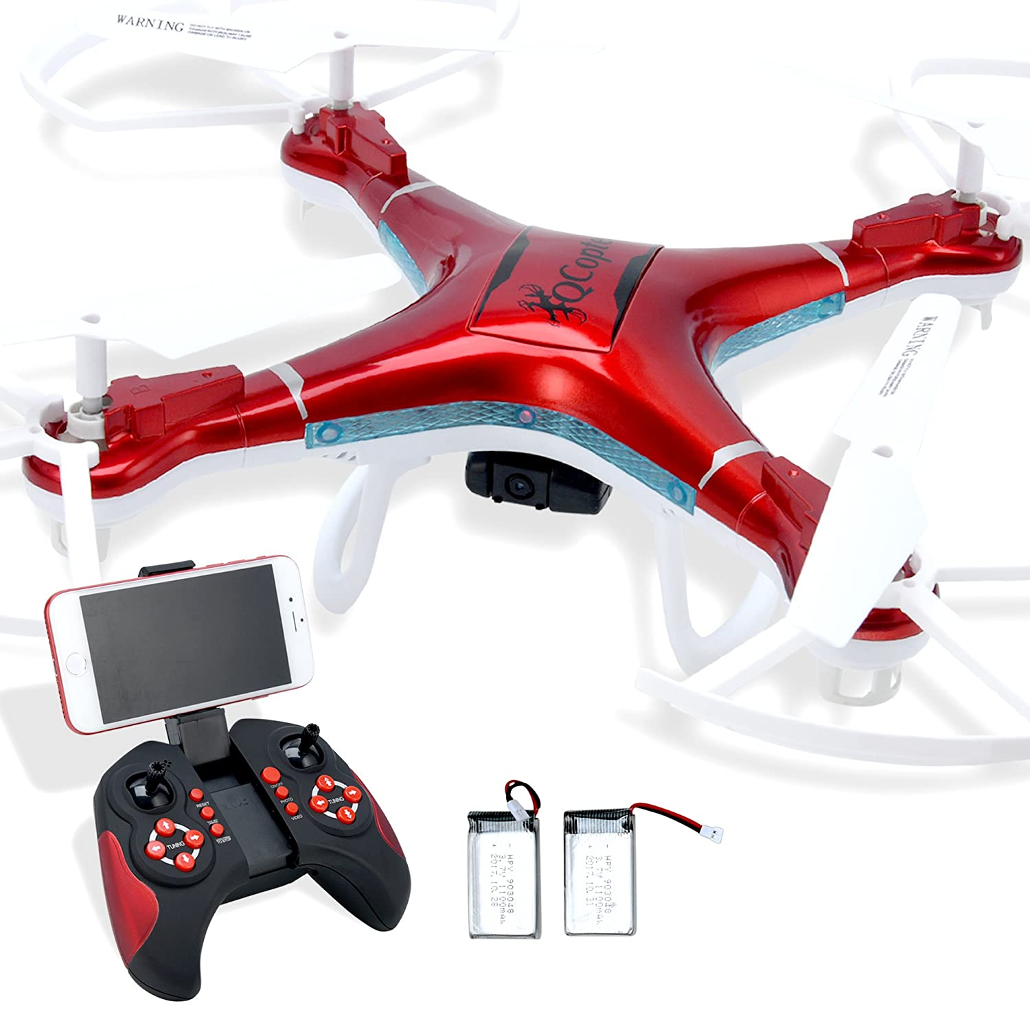 Qs Quadcopter -Black Drone for sale with camera. Drones with Double flight time. Quadcopter LED lighting Q-copter has Return Home feature. Quintana Sales Inc QC1