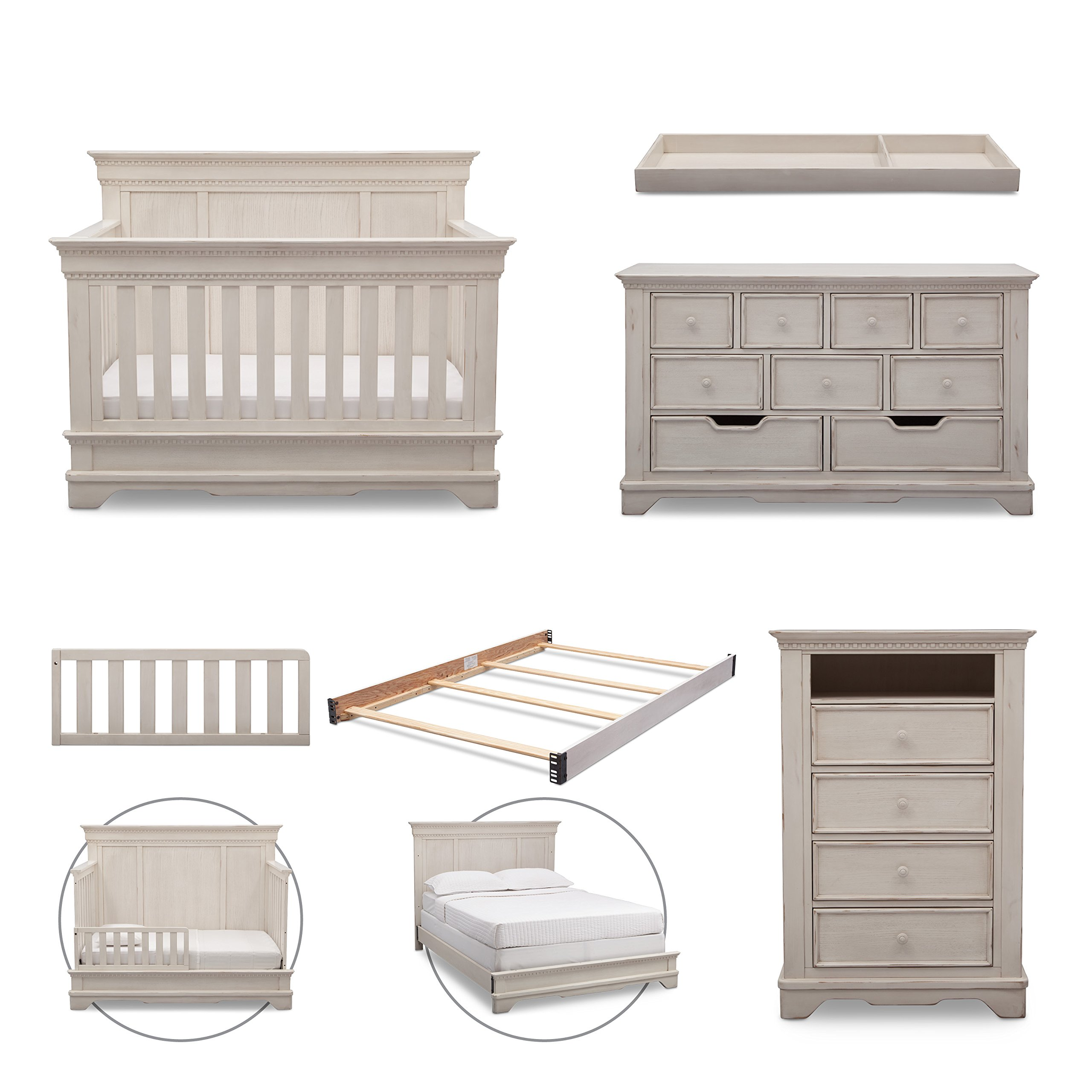Simmons Kids Tivoli 6-Piece Nursery Furniture Set (Convertible Crib, Dresser, Chest, Changing Top, Toddler Guardrail, Full Size Conversion) | Antique White