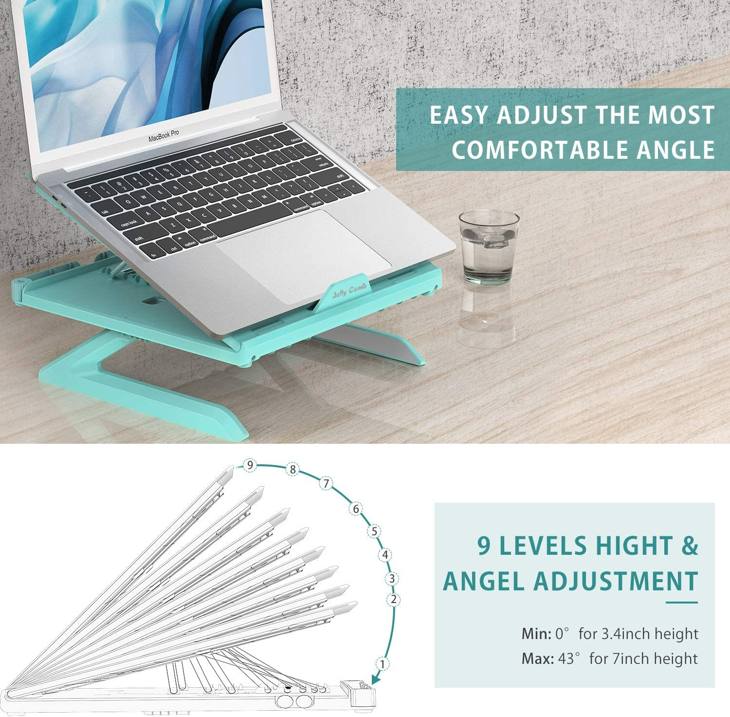 Ventilated Notebook Stand Tray for MacBook Blue Grey Tablet Laptop Stand Ergonomic Jelly Comb Multi-Angle Adjustable Laptop Riser with Built-in Foldable Legs and Phone Holder Desktop Computer