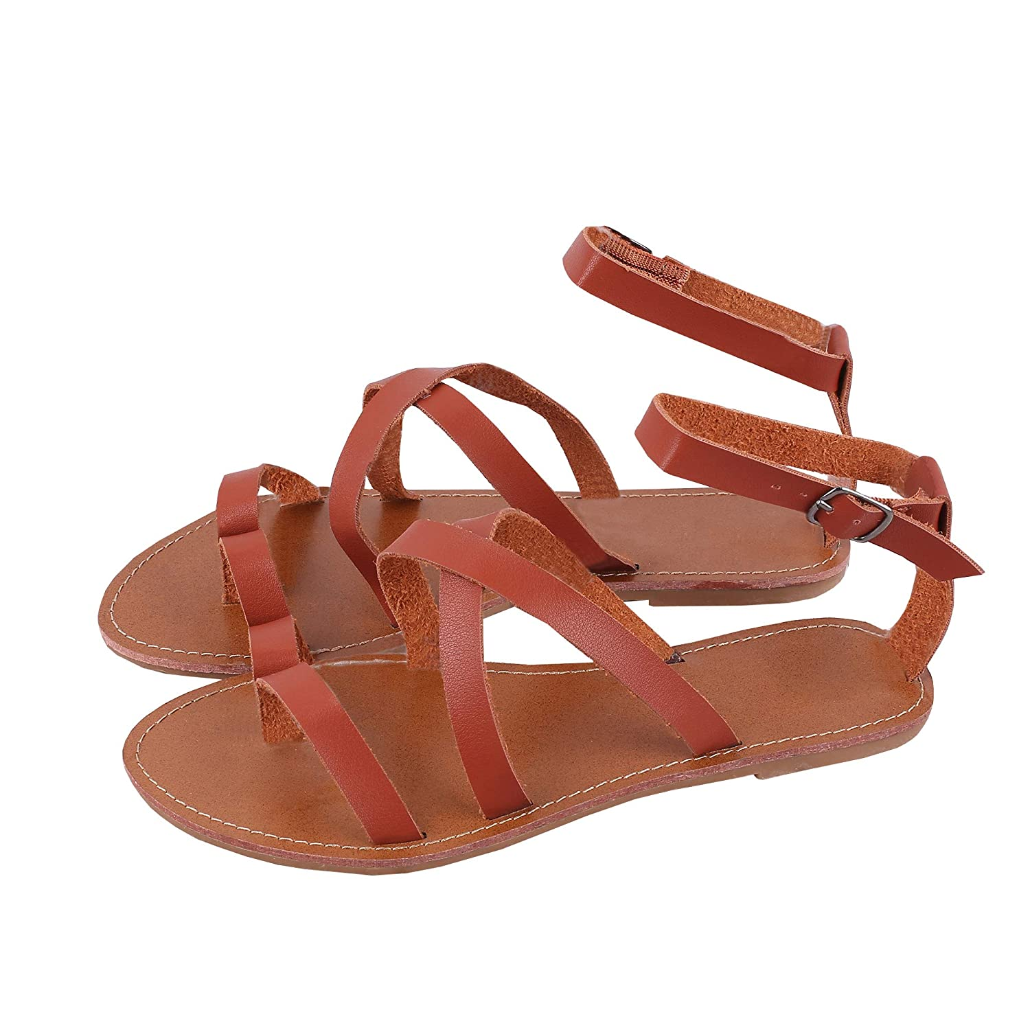 abddf19b Amazon.com | Womens Gladiator Strappy Flat Thong Criss Cross Ankle Wrap Summer  Beach Sandals | Flats
