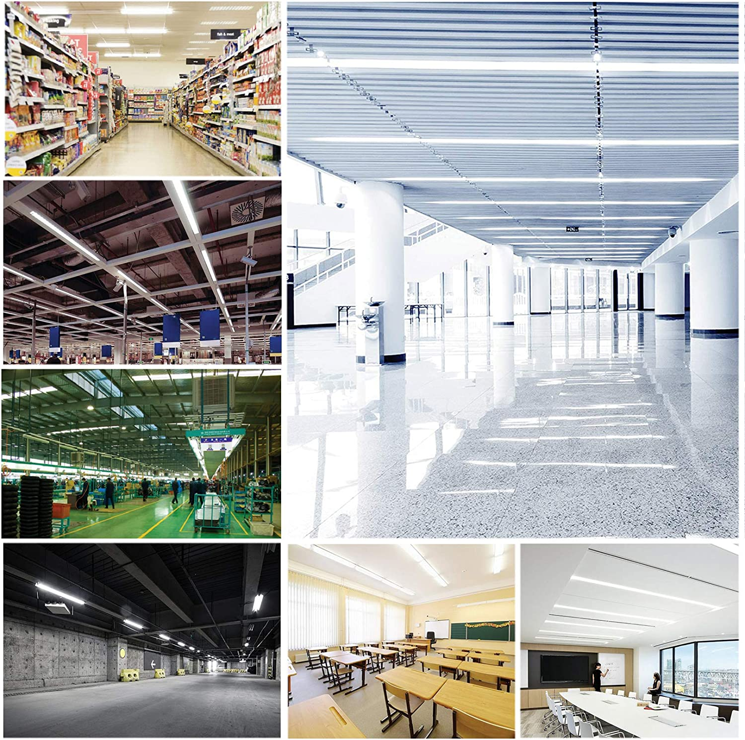 T8 LED Tube Light,360 Degree Rotatable R17D Base,8FT 60W V-Shaped Double Row Indoor Bulb Light for Warehouse,Shop,Daylight White 6500K,Clear Cover,T12 8 Foot Bulbs to Replace Fluorescent Light,6 Pack