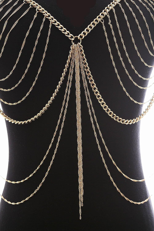 9310b302d5c Amazon.com  Fine Fashion Boderier Retro Bikini Bralette Chain Harness  Necklace Crossover Body Chain for Women (Gold)  Jewelry