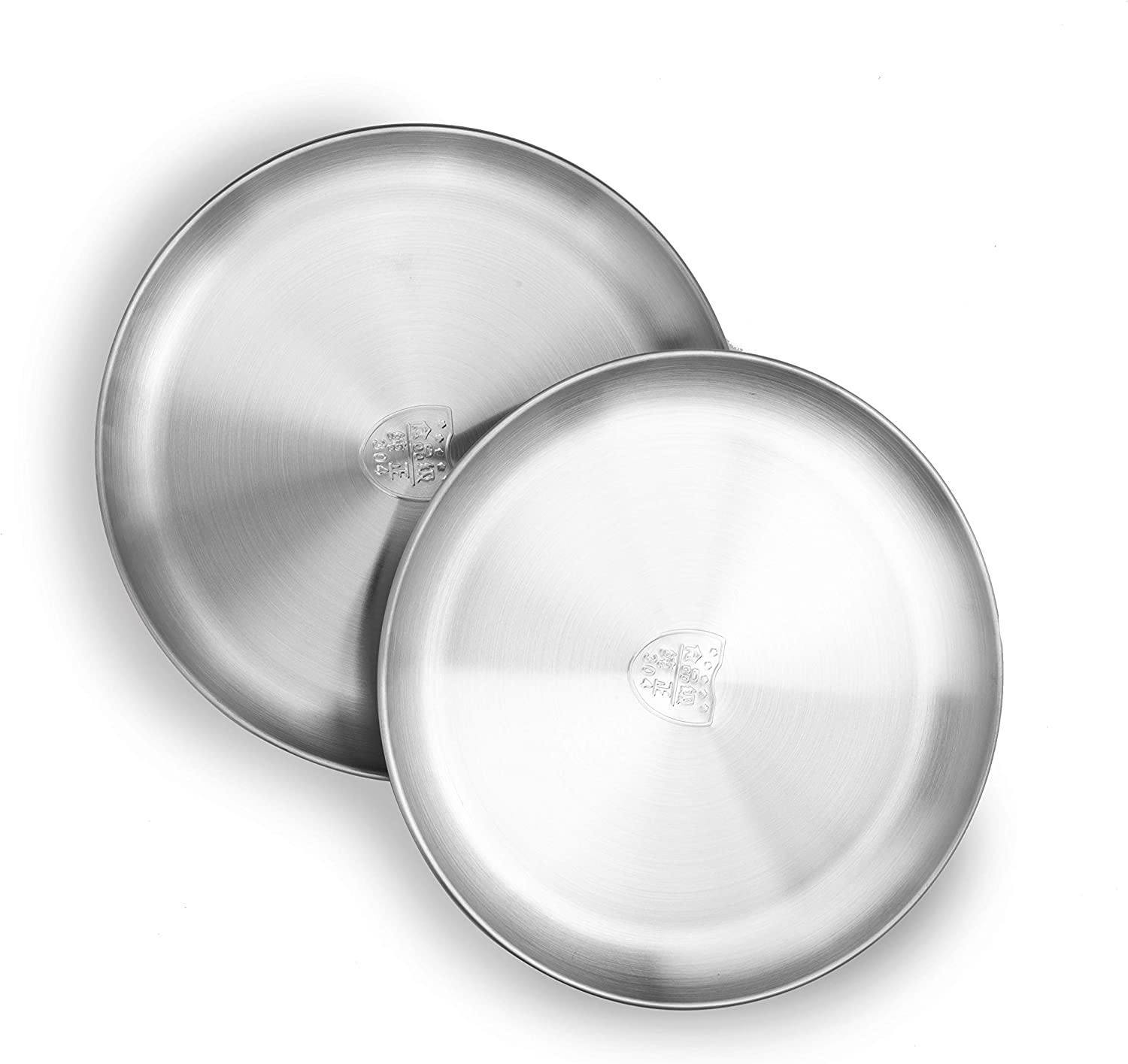 VENTION Pizza Baking Pan, Food Grade Stainless Steel Dinner Plates, 10 1/5 Inch Pizza Baking Tray for Barbecue, Baking, Set of Two