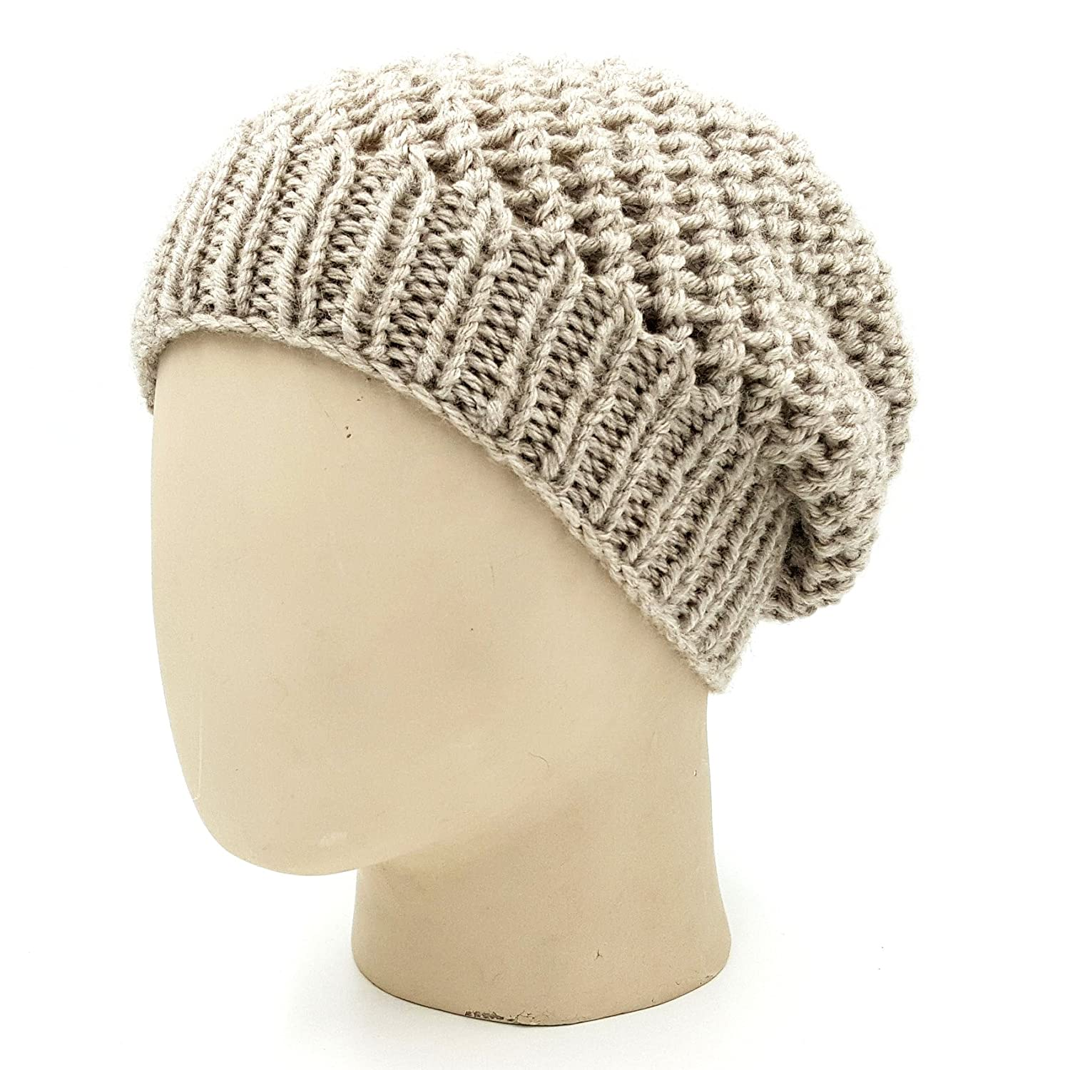 f577b92e3a0 Magic Needles Winter Woolen Cap (Handmade Mens Netted Beanie - (Beige)   Amazon.in  Clothing   Accessories
