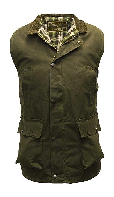 63b1bb4d40b Walker and Hawkes Men s Wax Bodywarmer Waistcoat Countrywear Gilet Olive at Amazon  Men s Clothing store