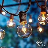 Lichterkette Gl/ühbirnen G40 Qedertek 7.62 Meter Lichterkette Birnen Warmwei/ß Retro Garten Lichterkette Au/ßen-//Innenbeleuchtung f/ür Garten und Haus Lichterkette Au/ßen 25 Birnen mit 3 Ersatzbirnen