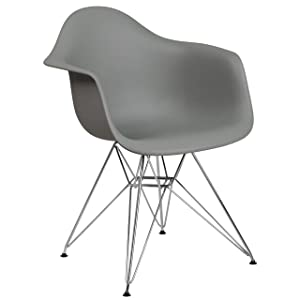 Flash Furniture Alonza Series Moss Gray Plastic Chair with Chrome Base