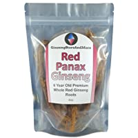 Red Panax Ginseng 1-16oz | 6 Year Old Whole Roots | Korean Red Ginseng | Premium Grade, Very Large, and Sugar Free | High Ginsenosides for Energy, Mental Health and Performance for Men & Women (4oz)