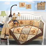 SoHo Classic American Teddy Bear Baby Crib Nursery Bedding Set 13 pcs included Diaper Bag with Changing Pad & Bottle Case