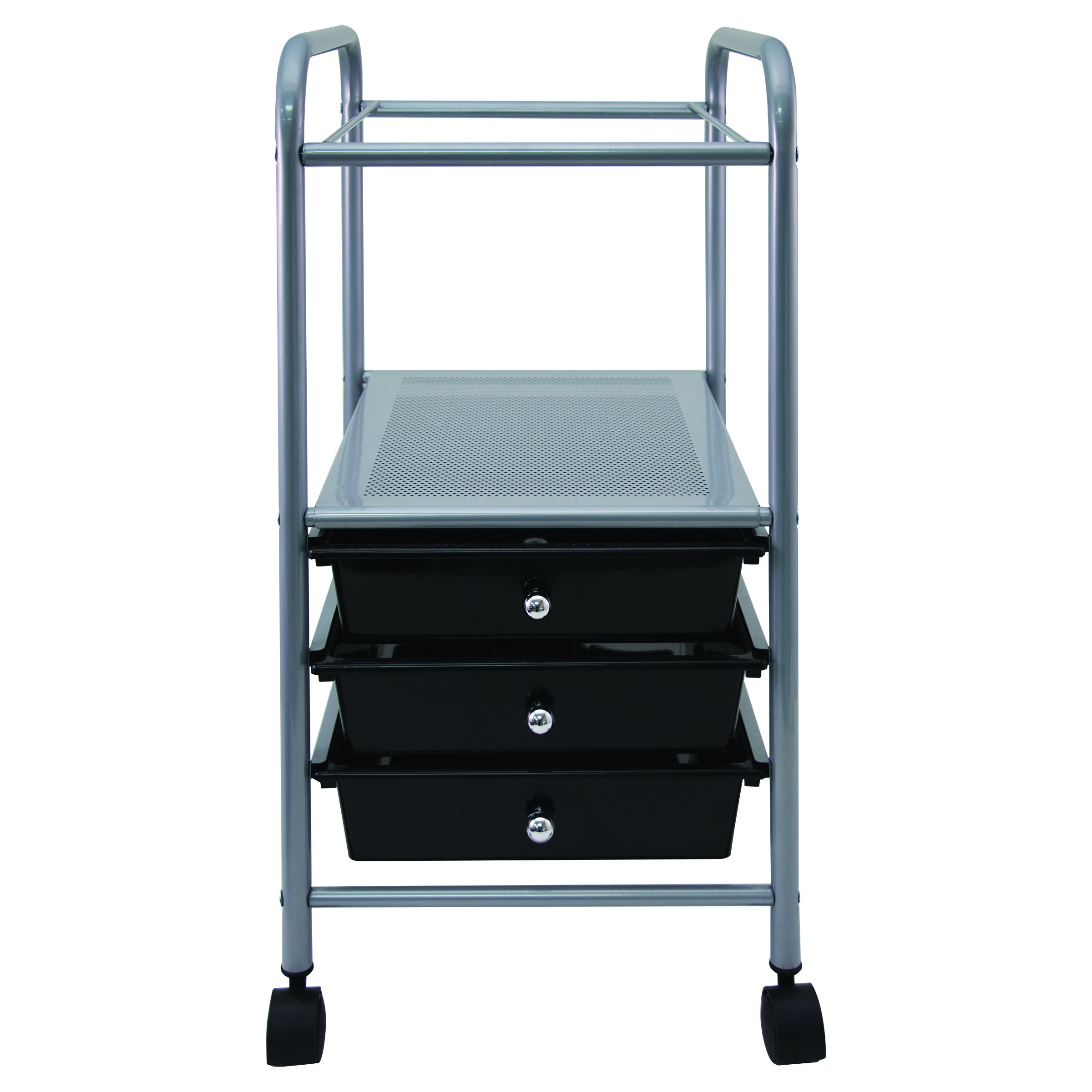 Vertiflex Slim-Profile Mobile File Cart with 3 Drawers, 15.7'' x 13'' x 26.25'', Black/Silver (VF53037) by Vertiflex Products
