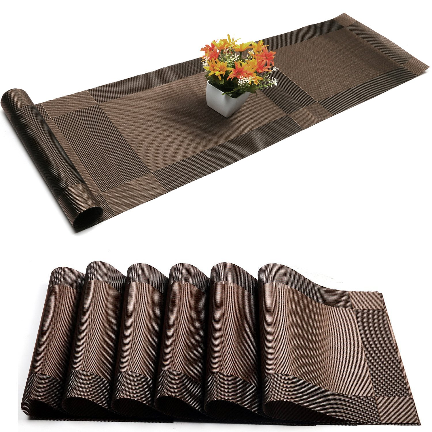 Placemat with Compatible Table Runner,U'Artlines Crossweave Insulation Placemat Washable Table Mats Set (6pcs placemats+Table runner, Brown)