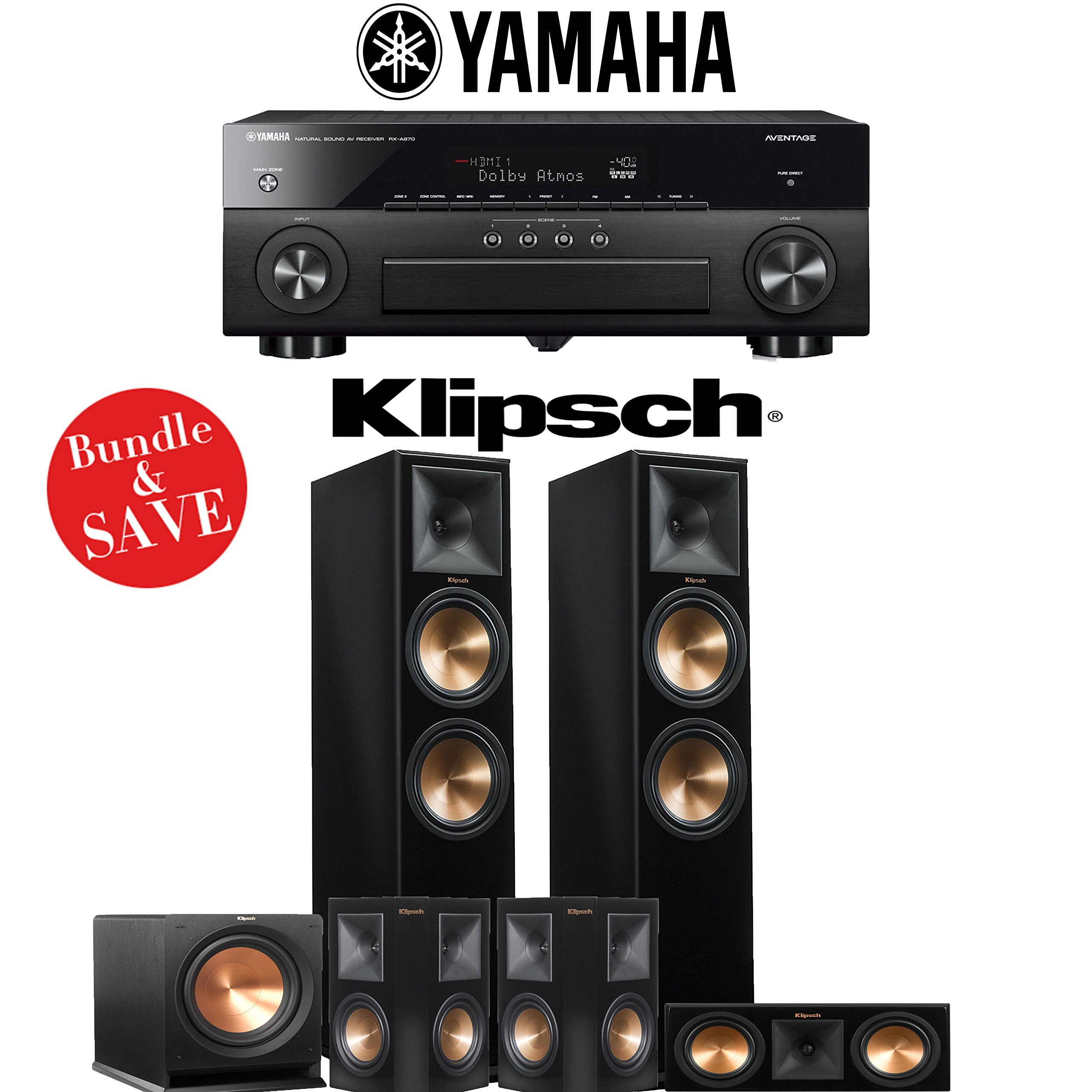 Klipsch RP-280F 5.1-Ch Reference Premiere Home Theater System (Piano Black) with Yamaha AVENTAGE RX-A870BL 7.2-Channel Network A/V Receiver by Klipsch