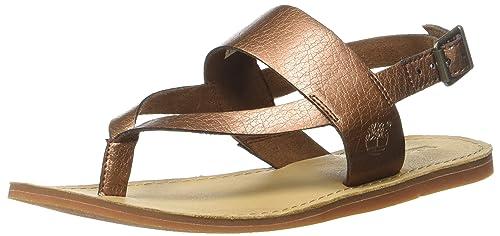 f7aa803bb6bc9e Timberland Carolista Ankle Thongcopper Metallic Sandali con Zeppa Donna,  Marrone (Copper), 36
