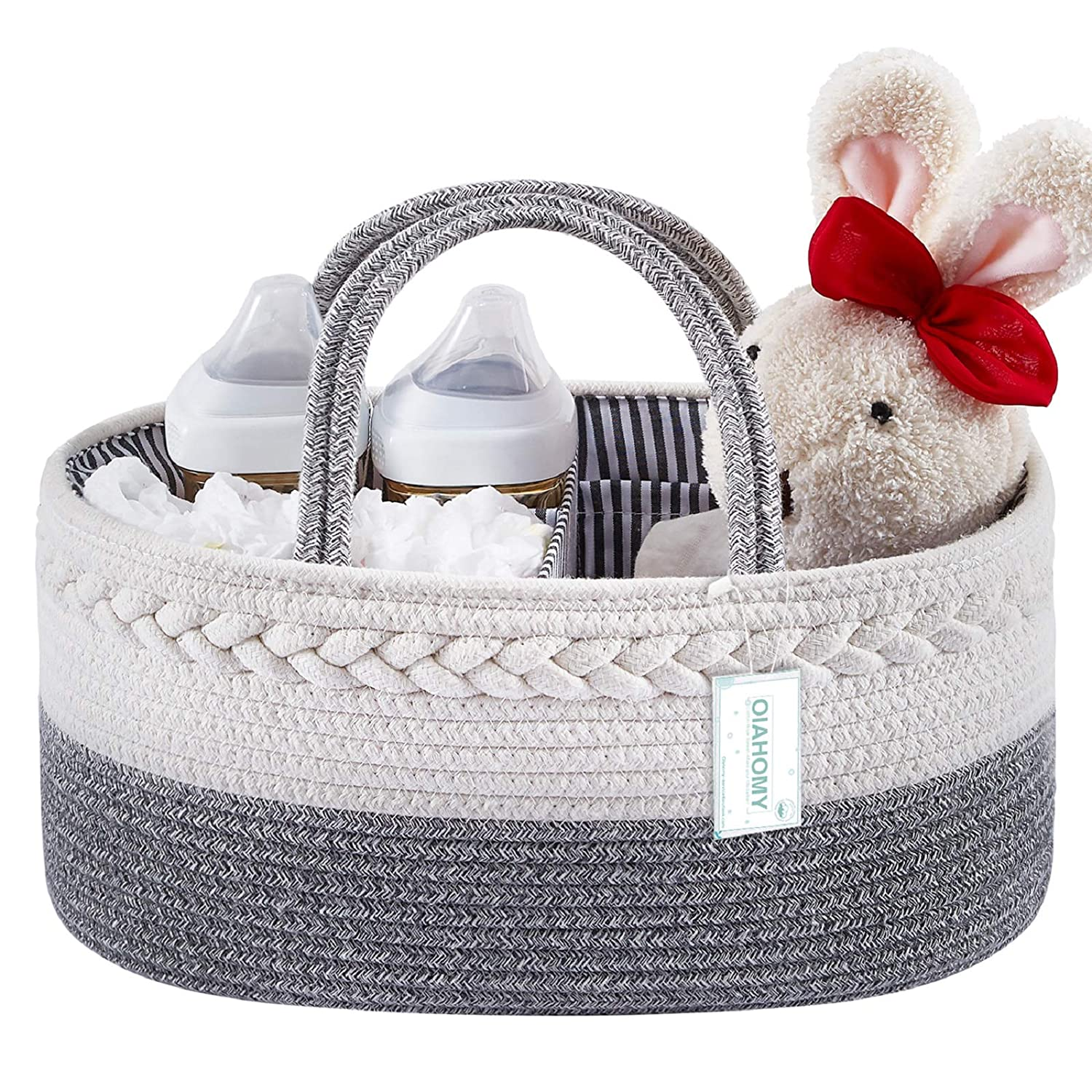 Baby Diaper Caddy Organizer-Baby Basket with Removable Divider Portable Tote Bag for Changing Table & Cars, Cotton Rope Basket Baby Shower Basket, Newborn Must Haves