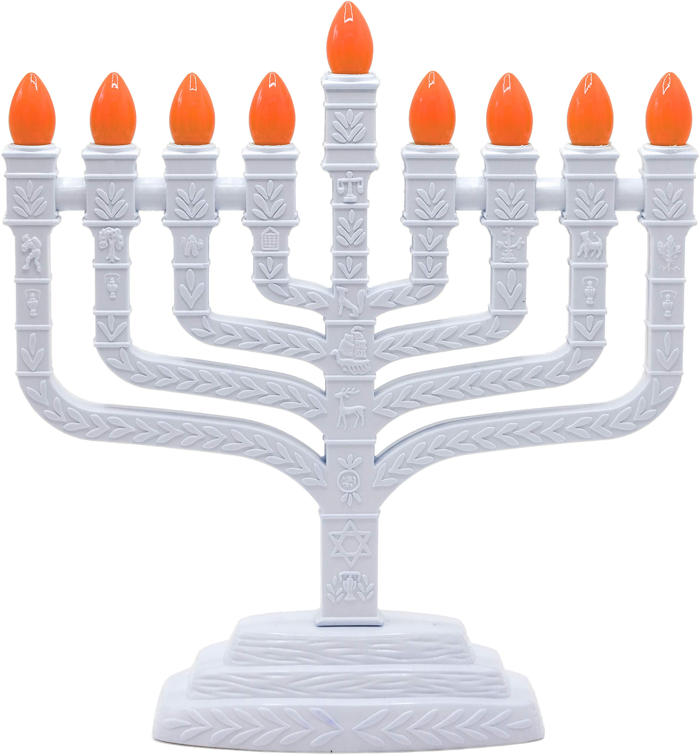 Aviv Judaica PRL-850 White Electric Knesset Menorah with The Symbols of The Twelve Tribes, Gray by Aviv Judaica