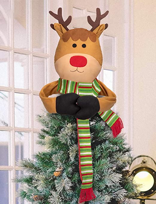 Amazon Com Moon Boat Christmas Tree Topper Reindeer Hugger Xmas Holiday Winter Wonderland Party Decorations Ornaments Supplies Home Kitchen