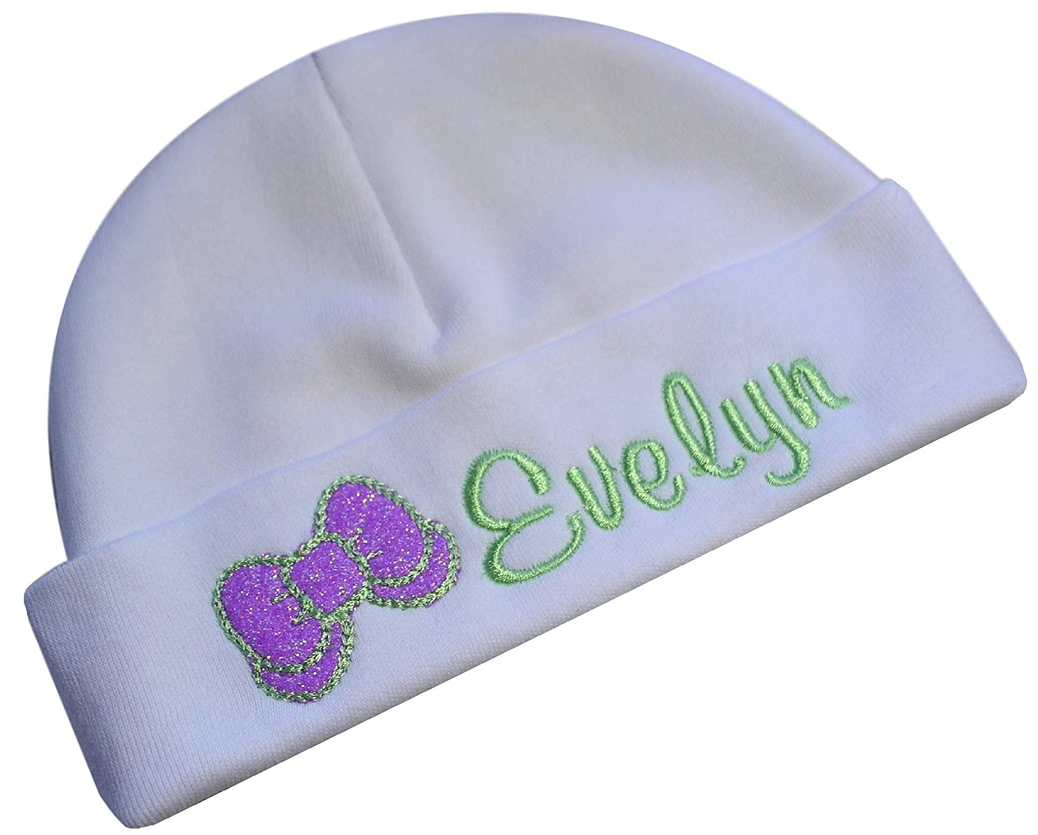Personalized Embroidered Baby Girl Hat with Sparkling Glitter Bow with Custom Name