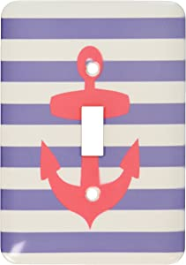 3dRose lsp_57479_1 Retro Nautical Red Anchor with Navy Blue Sailor Stripe Pattern French Breton Stripes Single Toggle Switch