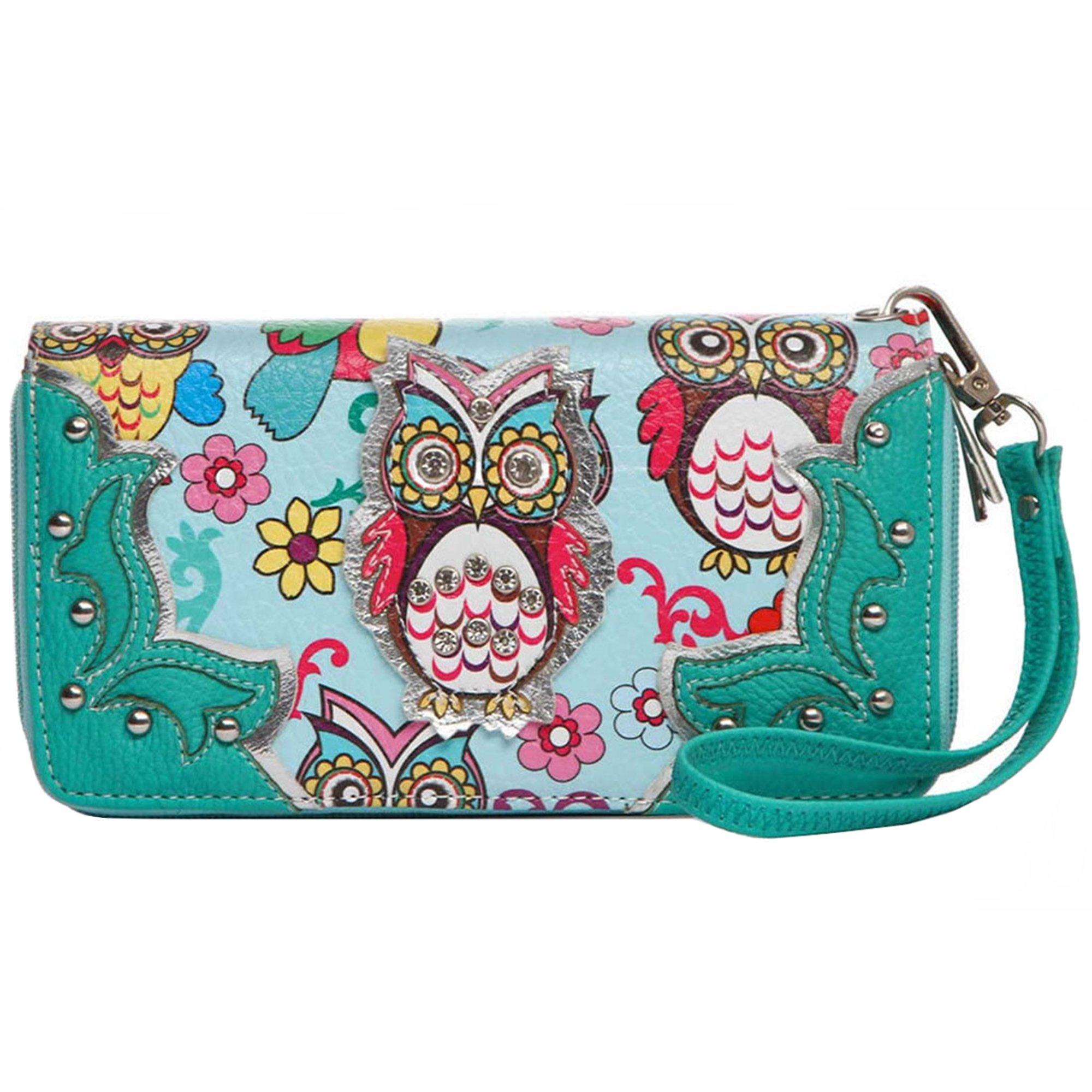 Colorful Owl Spring Western Style Fashion Clutch Purse Women Wristlets Wallet (Teal)