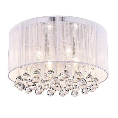 crystal 4 light white drum shade chrome flush mount chandelier