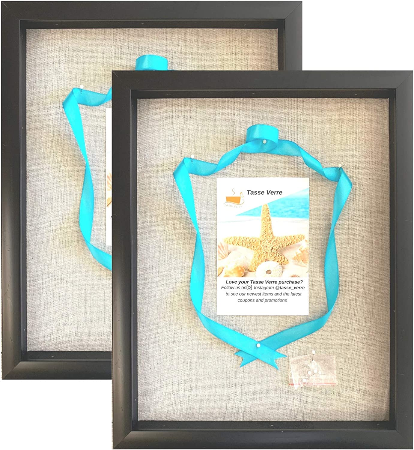 """(2-Pack) 12x15"""" Display Shadow Box Frame with Linen Background and 8 Stick Pins - Black Large Shadowbox Picture Frame - Box Display Frame, Baby & Sports Memorabilia, Uniforms, Military Medals, Wedding"""