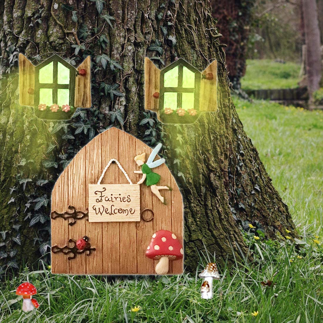 Fairy Doors for Tree Outdoor Decorations Garden Decorations Outdoor Garden Doors and Windows Gnome House Window and Door for Trees, Garden Decor Fairy Garden Accessories Outdoor Decorations