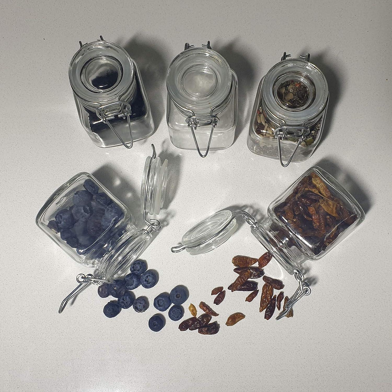 5 x Botes de Cristal para Cocina de 9cl con Cierre Herm/ético de Clip y Junta de Silicona Pack 5 Unidades Tarros de Vidrio con Tapa Conserva y Preserva