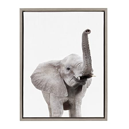 Kate and Laurel Sylvie Elephant with Raised Trunk Animal Print Portrait Framed Canvas Wall Art by Amy Peterson, 18×24 Gray